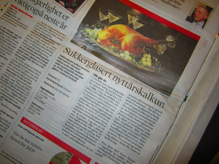 Julaften Tonight: Kalkun recipee on Norwegian Newspaper